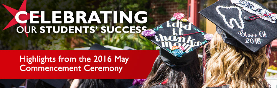 Commencement 2016 is May 20th at 5pm