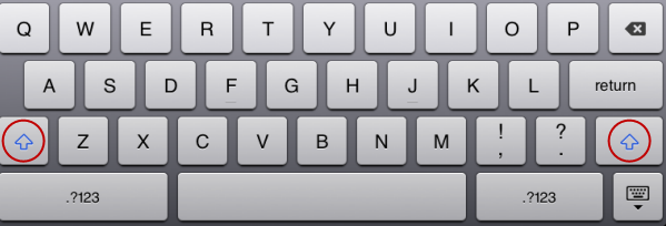 iPad keyboard shift key