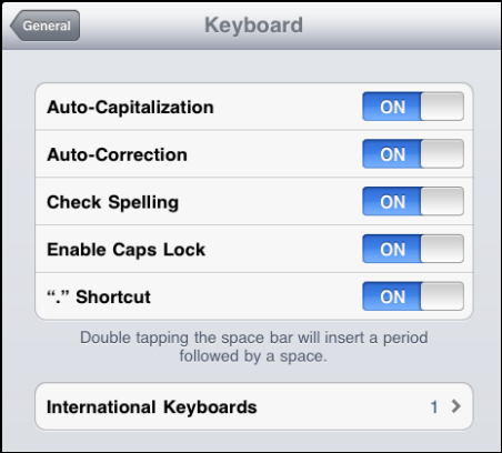 iPad Keyboard Settings