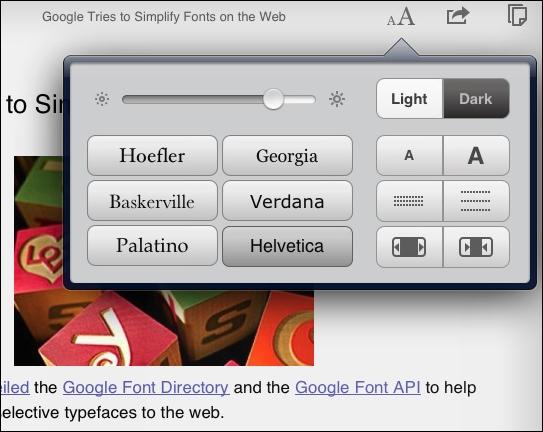 Instapaper Font Controls