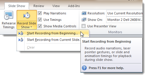 Begin Recording on Slide Show Tab