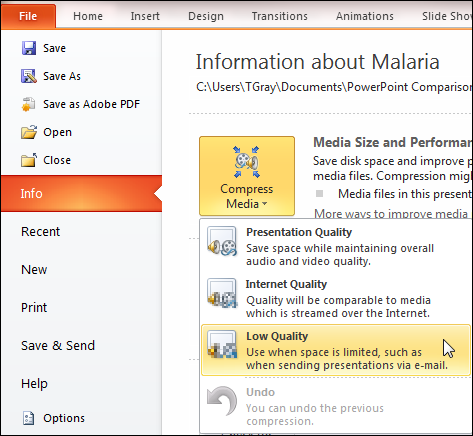 Compress Media in PowerPoint 2010
