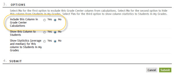 Include this Column in Grade Center Calculations option