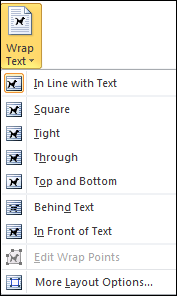 Text Wrap Menu Options