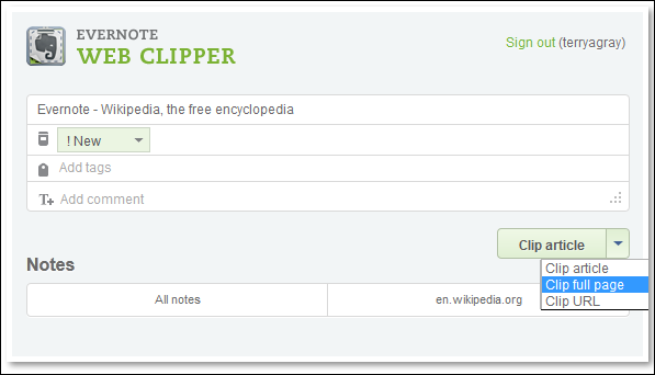 Web Clipper Dialog