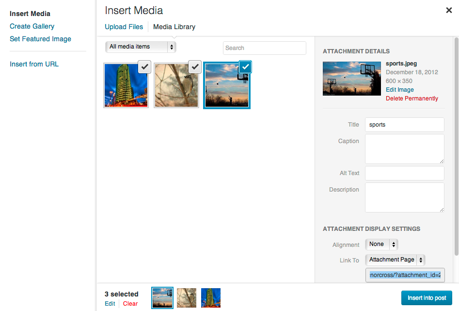 Insert Media screen in WordPress 3.5