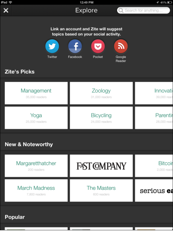 Zite categories