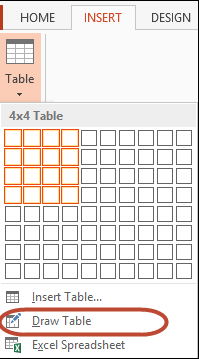 Draw Table Tool Drop-down