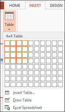 Insert Table from Grid