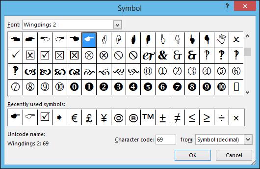 Symbol Dialog Box
