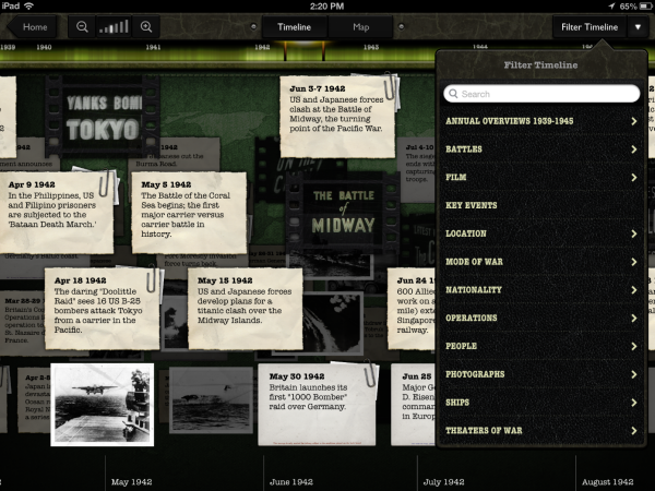 WW2 Timeline 1942 with Filter Menu