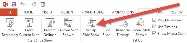 Transitions Set Up Slide Show
