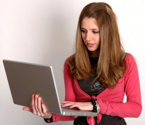 student using laptop