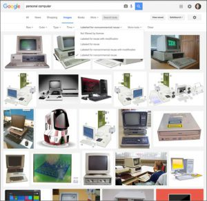 Screen capture of image search results.