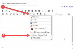 "Showing the ""More External Tools"" menu button, with the ""Embed Kaltura Media"" option pointed out"