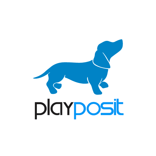 "blue dog over the word ""playposit"""