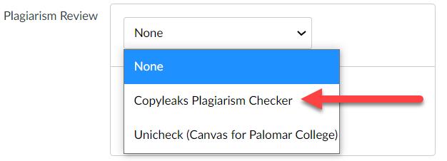 "Canvas ""Plagiarism Review"" menu showing options for Copyleaks and Unicheck."