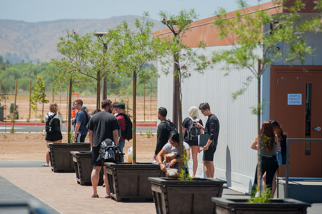 This image is of students walking to their classroom at the Fallbrook Education Center