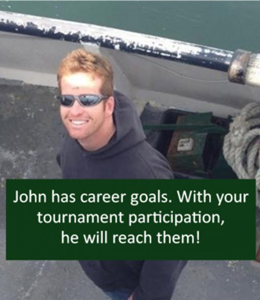John has career goals. With your tournament participation, he will reach them!