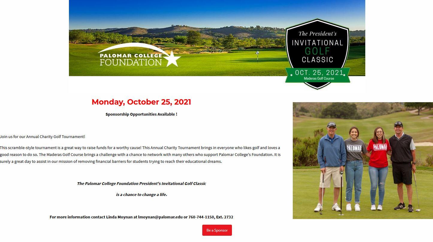 Palomar College Founation's President's Invitational Golf Classis
