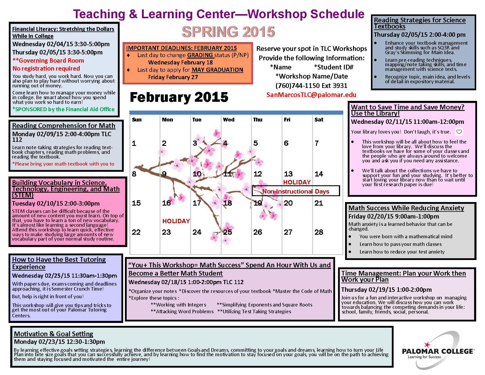 SP2015_TLC Workshop Schedule_FEB