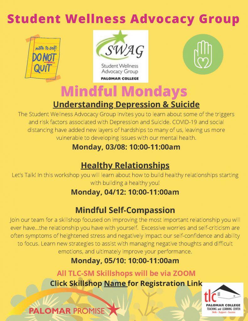 SWAG Mindful Mondays flyer