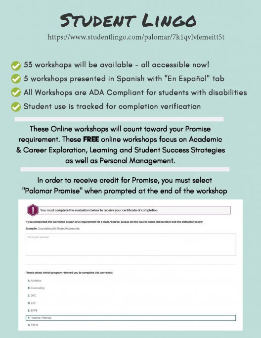 visit https://www.studentlingo.com/palomar/7k1qvlvfemeitt5t to access the Student Lingo website