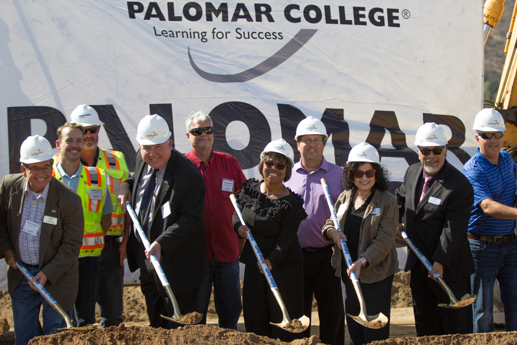 Members of the Palomar College Governing Board, Mark Evilsizer, Paul McNamara, Nina Deerfield, and John Halcón pose with Superintendent Blake and Construction Crew Members with Balfour-Beatty Construction at the Ceremonial Groundbreaking for the North Education Center on Oct. 13. Alexis Metz-Szedlacsek (@skepticully) / The Telescope