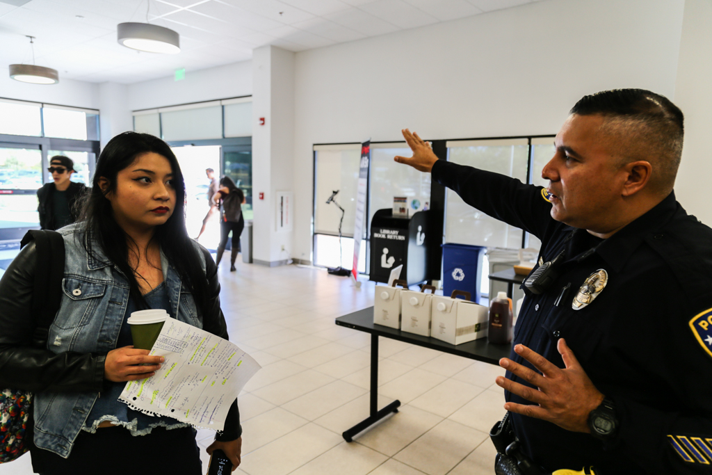 Palomar College Police Department Officer Gerard Perez answering questions during Coffee With Cop on October 18. Palomar College Escondido Campus. Larie Tobias Chairul/The Telescope