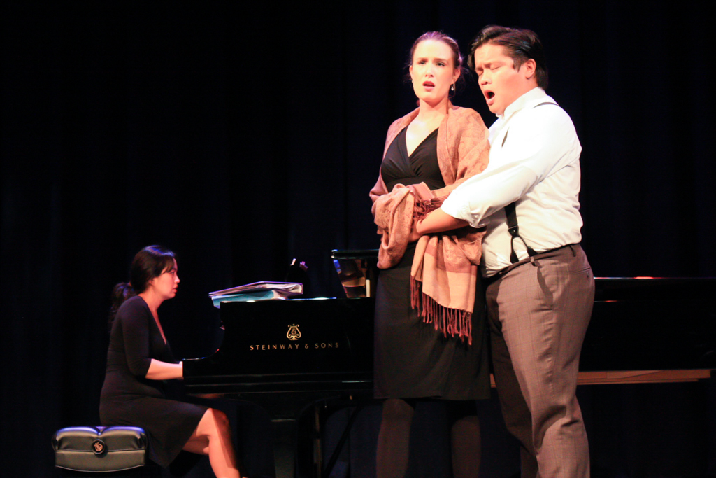 Michelle Law, soprano, and Alvin Almazan, tenor, along with music/artistic director Ines Irawati on the piano, warm up for their performance of Opera Exposed! Nov. 30, 2017 in the Brubeck Theater. Alissa Papach / The Telescope