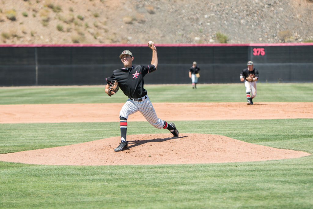 Nate Stilinovich, Palomar's starting pitcher, threw 5 innings on 6 hits to get the no decision on April 20 against Grossmont College. Pat Rindone / The Telescope