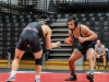 Palomar's Arturo Osorio, right, watches warily as he anticipates opponent Jeremy Huang's opening move in their bout in the 149 lb weight class. Palomar hosted the Santa Ana Dons at their last home match of the season November 8. Scott Engrav/The Telescope
