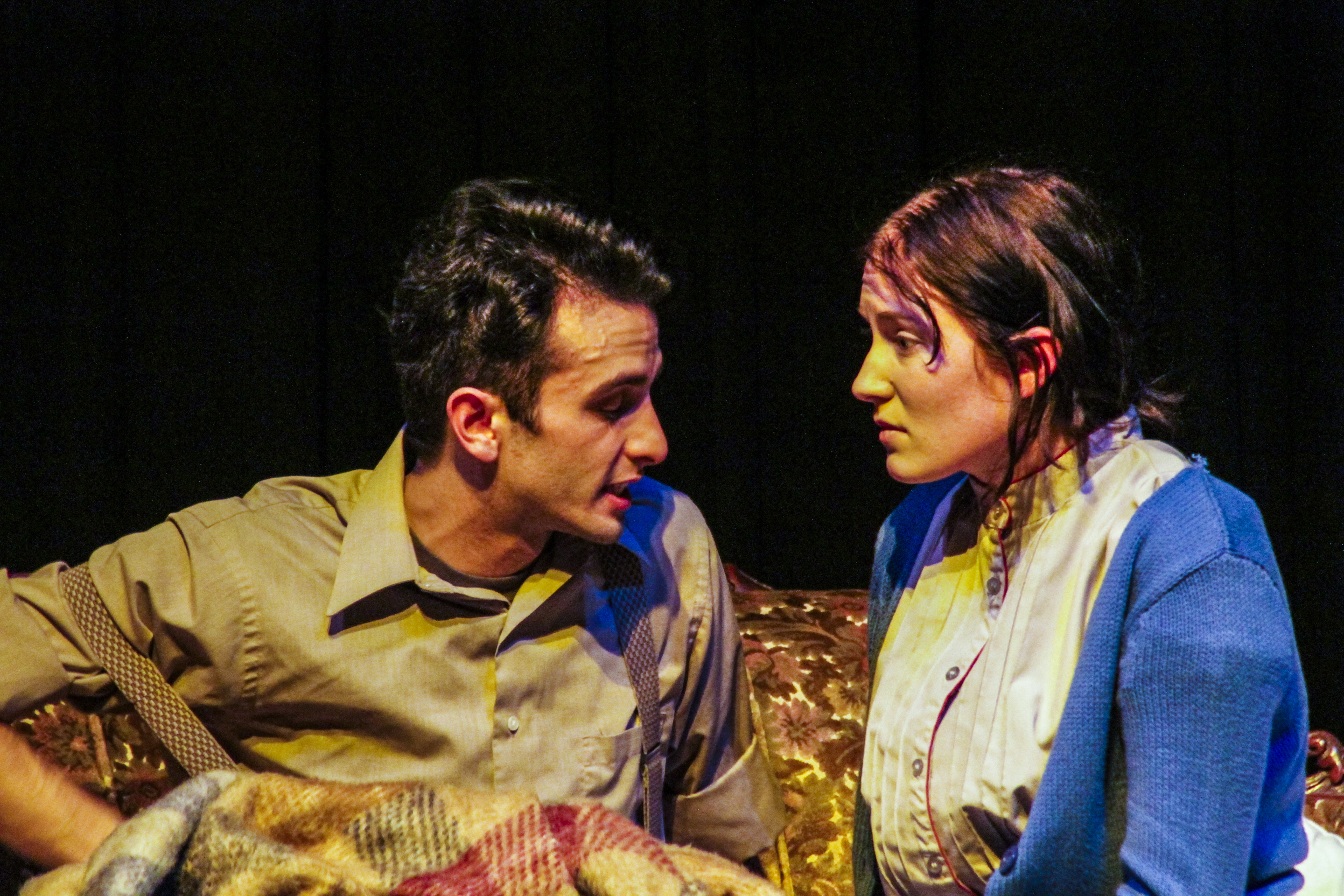 Tom (right, performed by Sean LaRocca) tries to explain his frustrations to his sister Laura (right, performed by Abby Fields) during the dress rehearsal of The Glass Menagerie by Tennessee Williams, being performed at Palomar College. Lucas Spenser/Telescope.