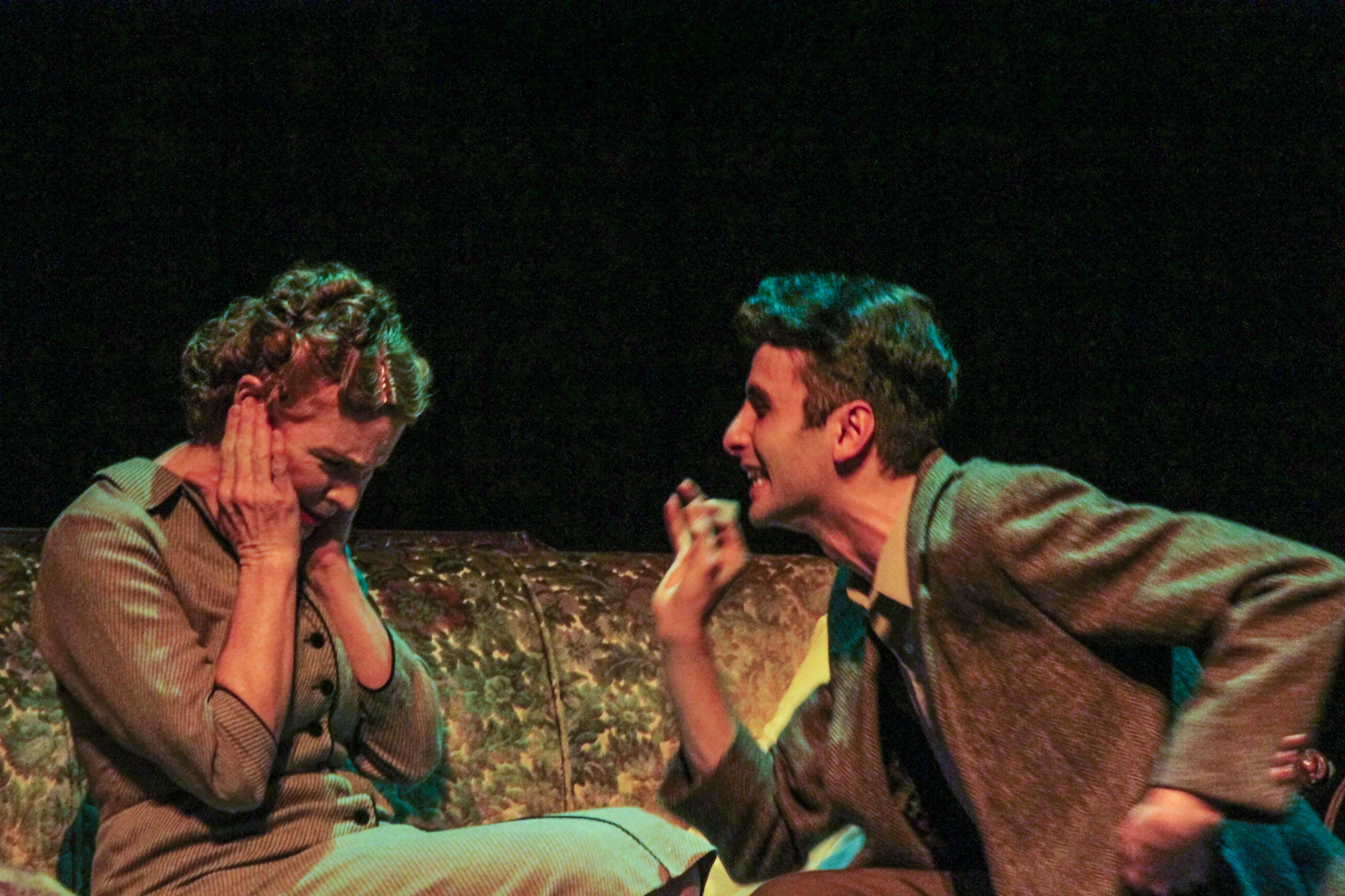 Tom (right, peformed by Sean LaRocca) antagonizes his mother Amanda (left, performed by Heidi Bridges) after she nags him about his drinking during the dress rehearsal of The Glass Menagerie being performed at Palomar College. Lucas Spenser/Telescope.