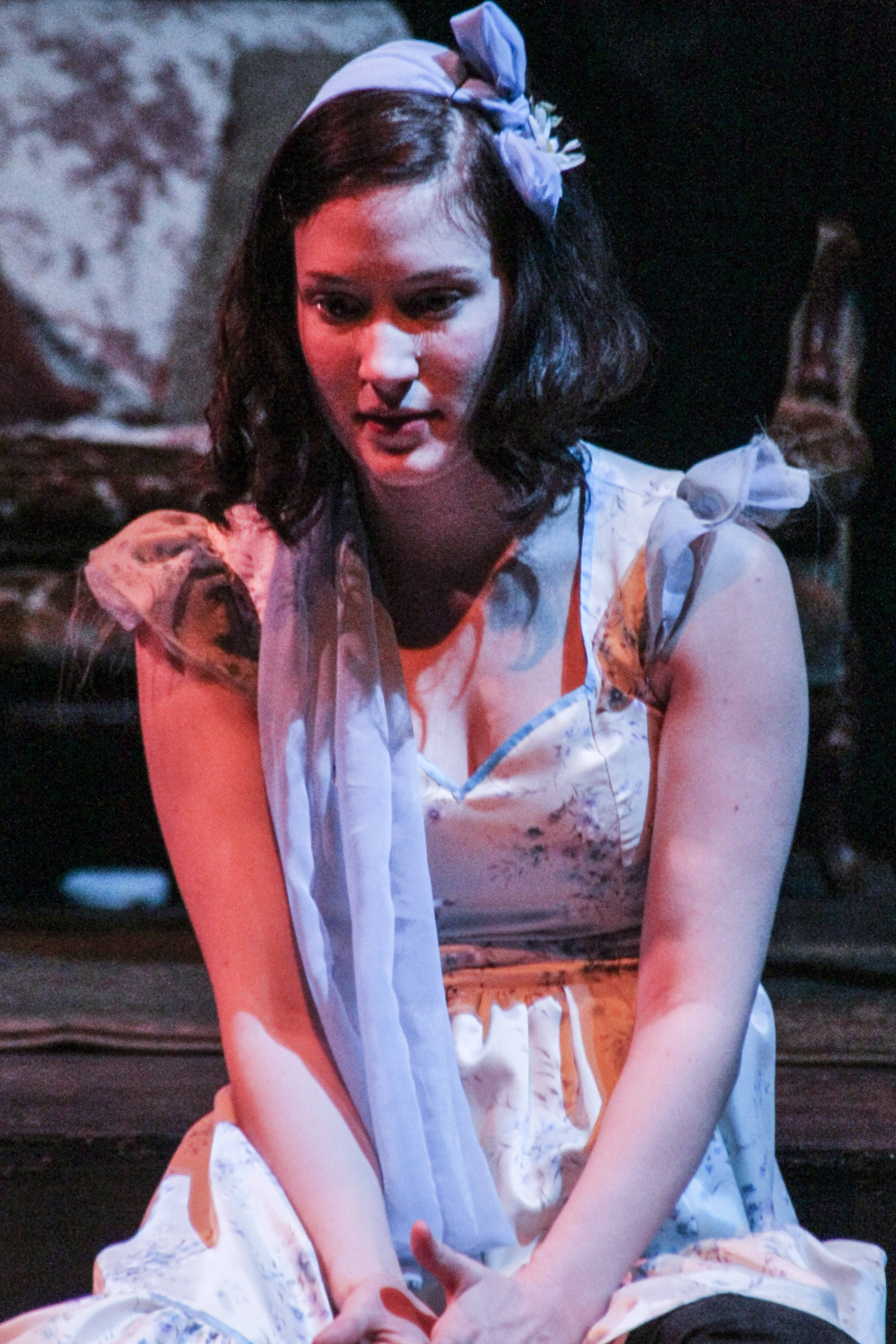 Actress and student Abby Fields portrays crippled Laura Wingfield in the performance of The Glass Menagerie by Tennessee Williams at Palomar College. Lucas Spenser/Telescope.