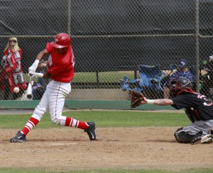 Palomar's Alec Salcedo knocks in a run on this hit in the bottom of the 7th inning to put Palomar up 4-0 against Mt San Jacinto. Stephen Davis/The Telescope