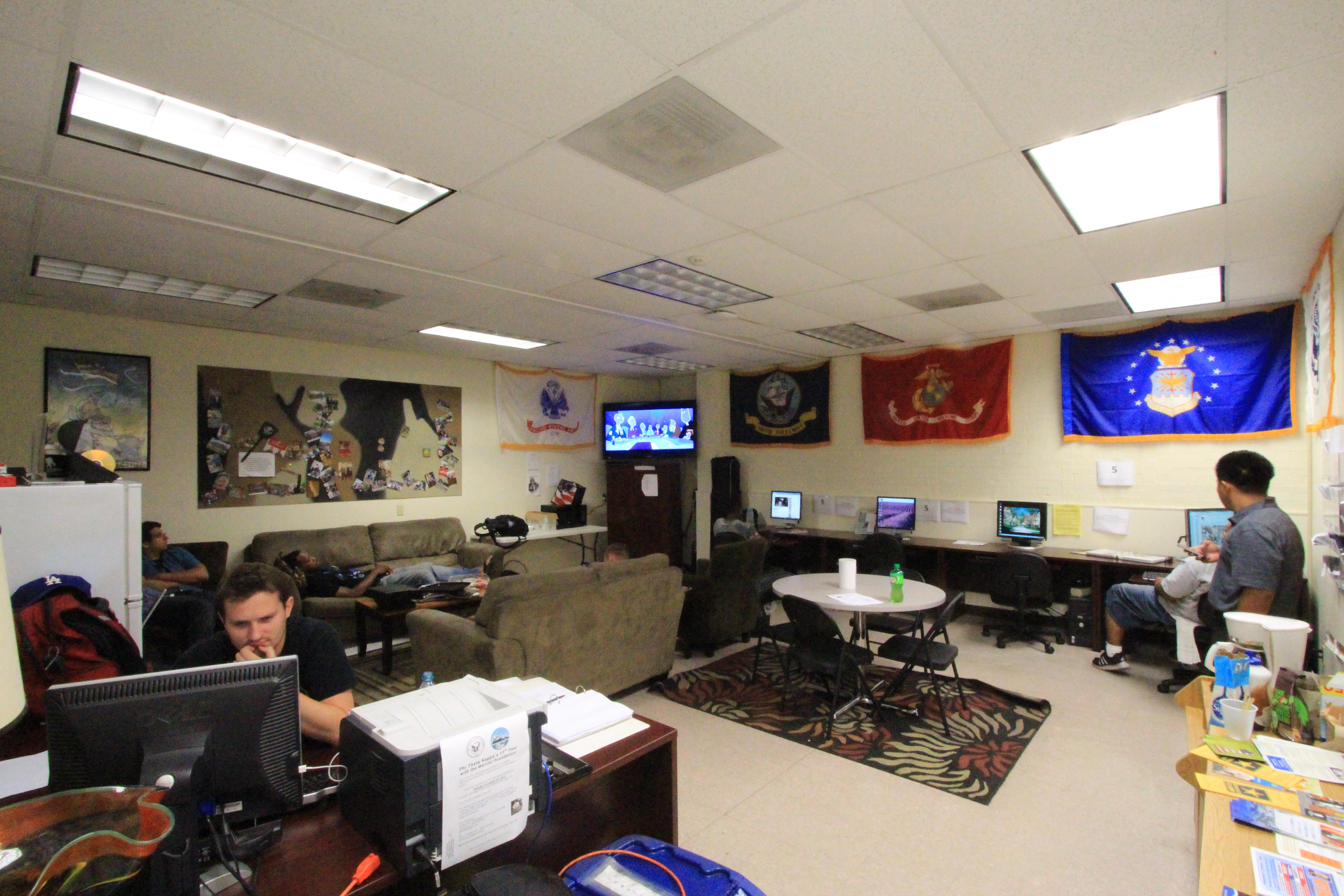 Sept 16, 2014, Palomar College Veteran Volunteer Jonathan Stroud (Marine Veteran) watches over the lounge.