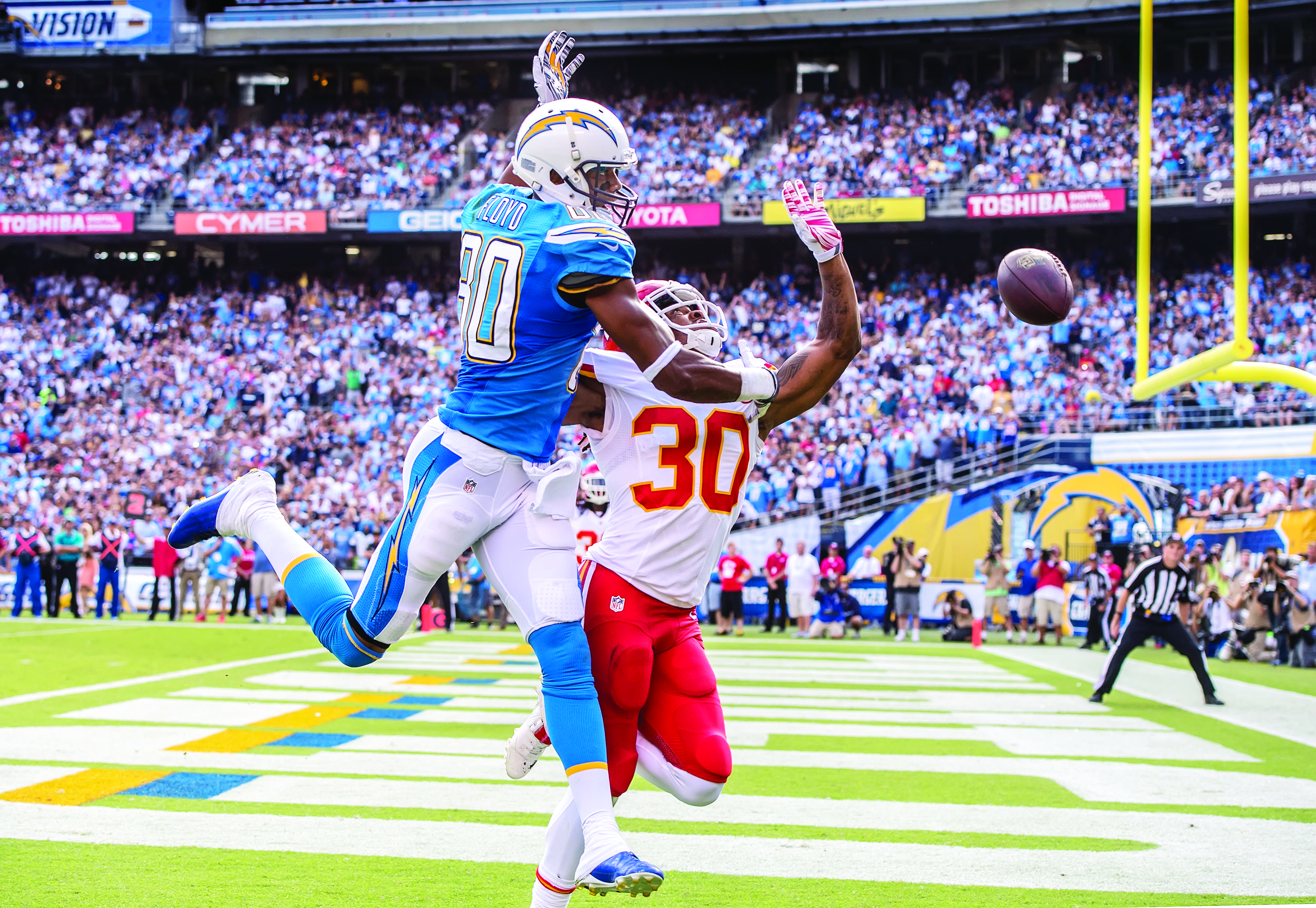 Kansas City Chiefs defensive back Jamell Fleming (30) breaks up a pass attempt in the end zone intended for San Diego Chargers wide receiver Malcom Floyd (80) on Sunday, Oct. 19, 2014, at Qualcomm Stadium in San Diego. (David Eulitt/Kansas City Star/MCT)
