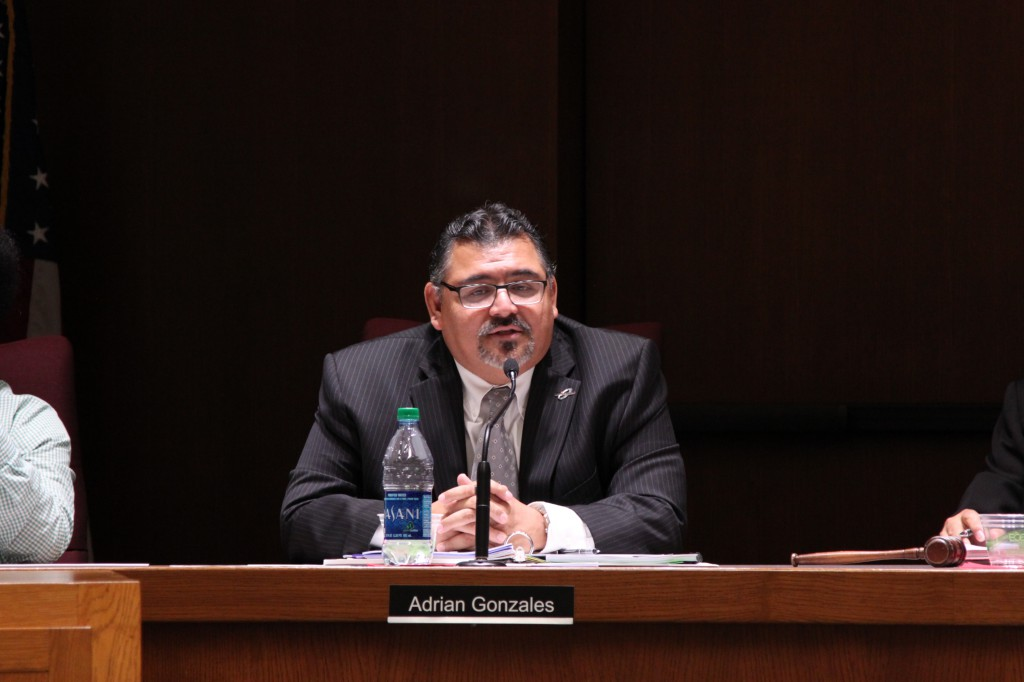 Adrian Gonzales, Palomar College's interim president, discusses campus issues at the Governing Board meeting at Palomar College on Sept. 9. Lou Roubitchek/The Telescope