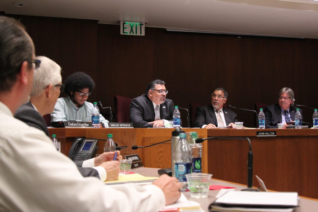 Governing Board members during a meeting at Palomar College on Sept. 9. Lou Roubitchek/The Telescope