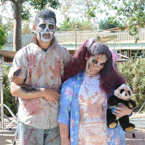 Eric Noriega and Larisa Sagarnaga, as the Walking Dead, won best group costume in the Costume Contest during Halloween Escape in the Student Union on Thursday, Oct. 29, 2015. © Yvette Monteleone/The Telescope