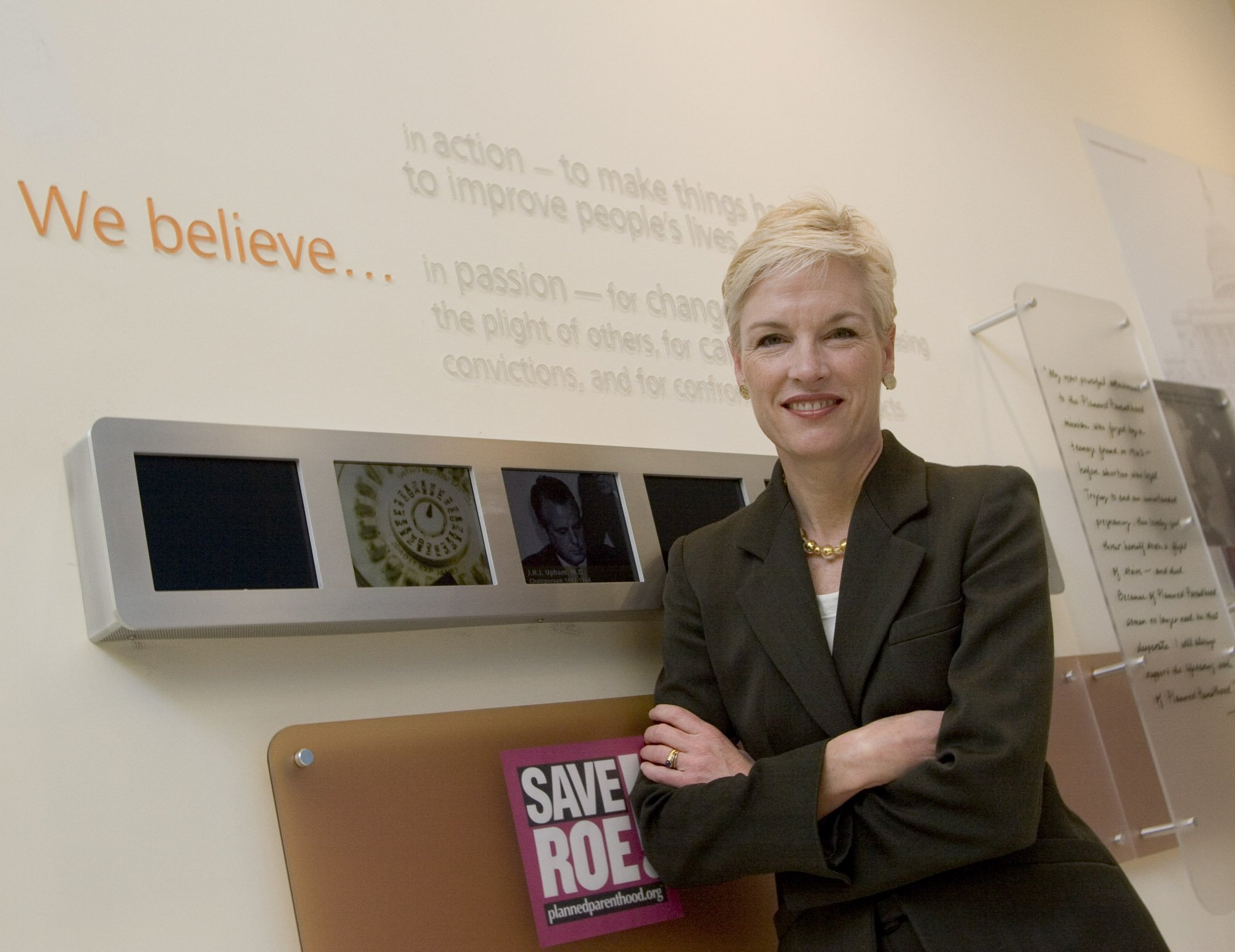 Cecile Richards, the new President of Planned Parenthood, stands infront of a display showing the strides of women's rights, including the company's mission statement, Wednesday, March 1, 2006, in New York. (Beth A. Keiser/Dallas Morning News/KRT)