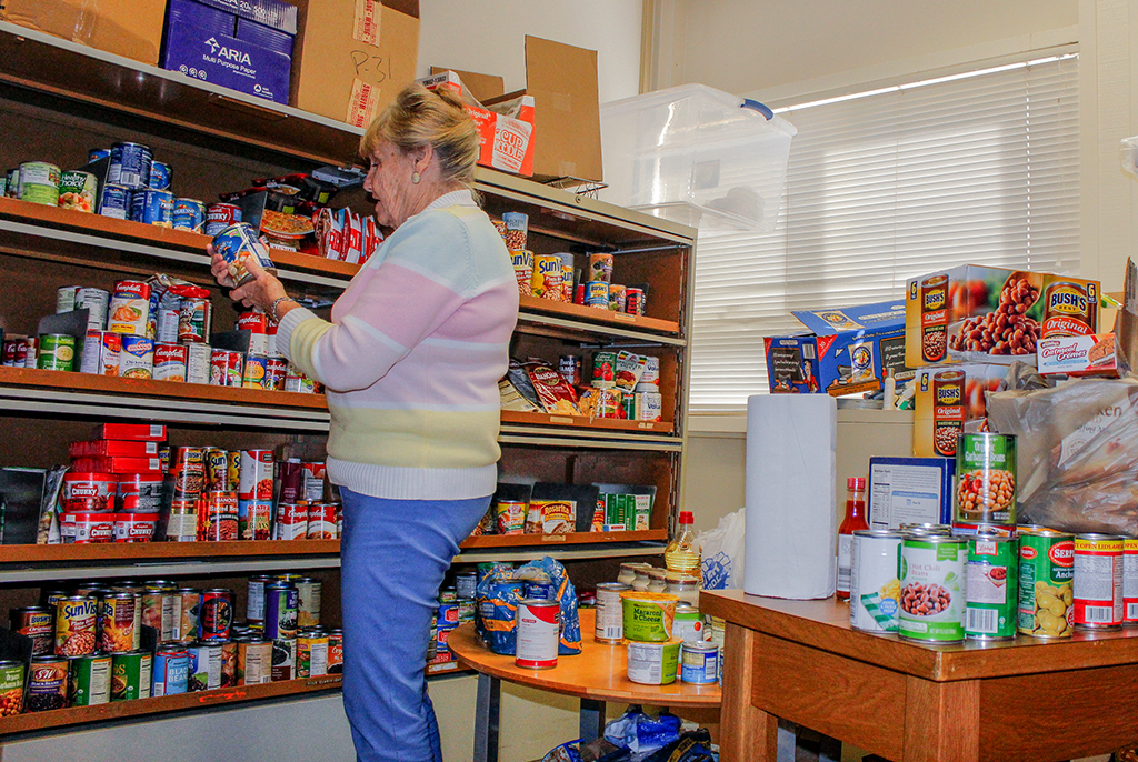 Palomar Colleges Food Bank gets stocked & organized by Staff Assistant Marilyn Lunde. Lunde has been with the Palomar Food bank since its inception in 1986. Nov. 18, 2015. Hanadi Cackler/ The Telescope