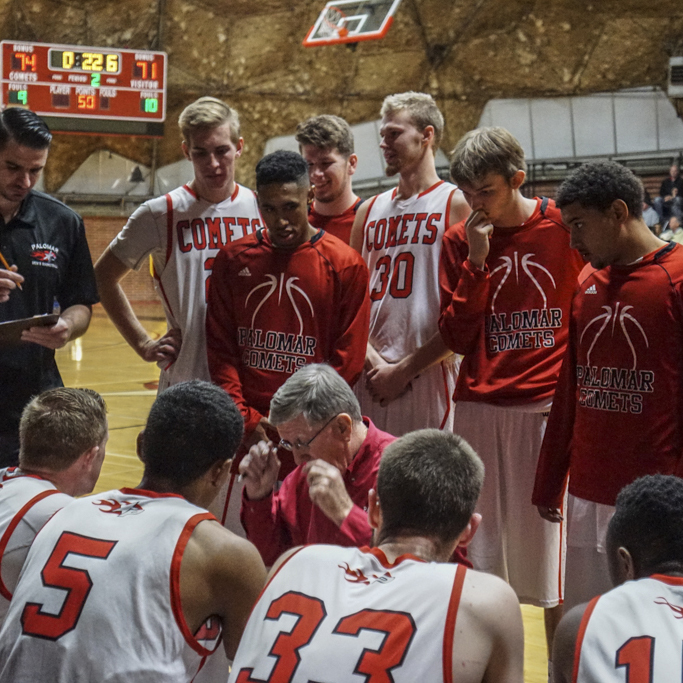 Palomar Head Coach John O'Neill calls a timeout with 2.8 seconds left in the game and The Comets leading L.A. Southwest College 74-71. The Comets went on to beat the Cougars 75-71 Friday 27 Nov at The Dome. Palomar hosted its 11th annual Thanksgiving Tournament. Philip Farry / The Telescope