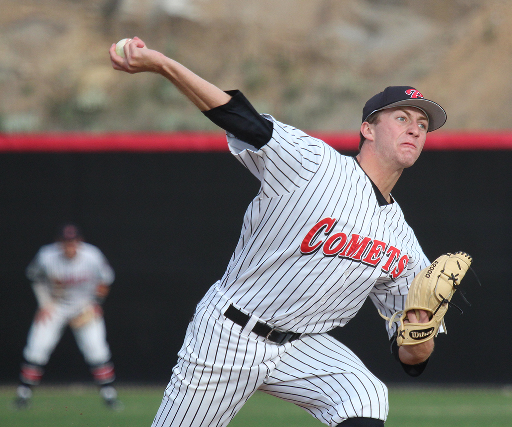 Palomar pitcher Troy Lamparello was the starting pitcher for the first innings of the game against College of the Desert at the new baseball field at the season opener on Jan. 27. Michaela Sanderson/The Telescope
