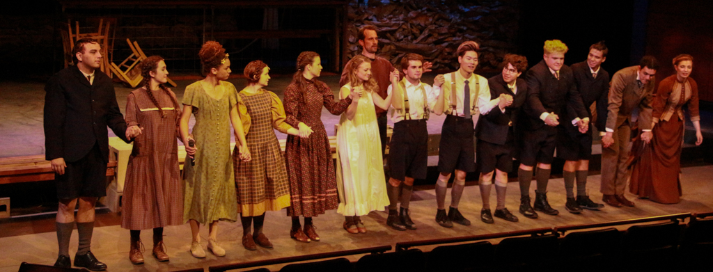 The cast of Spring Awakening, including the director Francis Gercke, take a bow at the end of the musical Feb 24. Christopher Jones/The Telescope