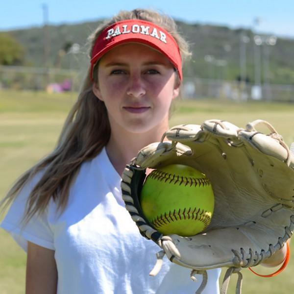 Palomar Softball pitcher Summer Evans (2) poses for an Enviromental Portrait. Tracy Grassel/The Telescope