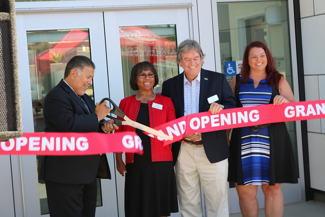 Governing board members John Halcon, Mark Evilsizer, Nancy Hensch, and President Joi Lin Blake cutting the ribbon to Palomar's new early childhood development center. Joel Vaughn / The Telescope