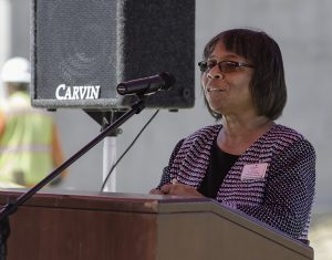 Palomar College Superintendant/President Dr. Joi Lin Blake gives a speech during the Topping Out Ceremony held at the San Marcos campus on July 28. The Ceremony was commemorating the construction of Palomar's new Library/Learning Resource Center by hoisiting up the last beam and bolting it into place. The new expected completion date is June 2018. Tracy Grassel/The Telescope