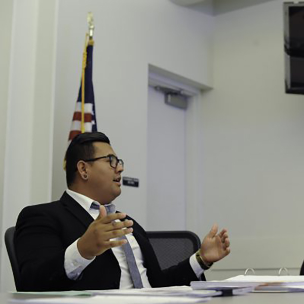 Palomar associate student government vice president, David Aguilar, delegating during an Associate Student Government meeting in SU- 204 on Sept. 23. Idmantzi Torres/ The Telescope .